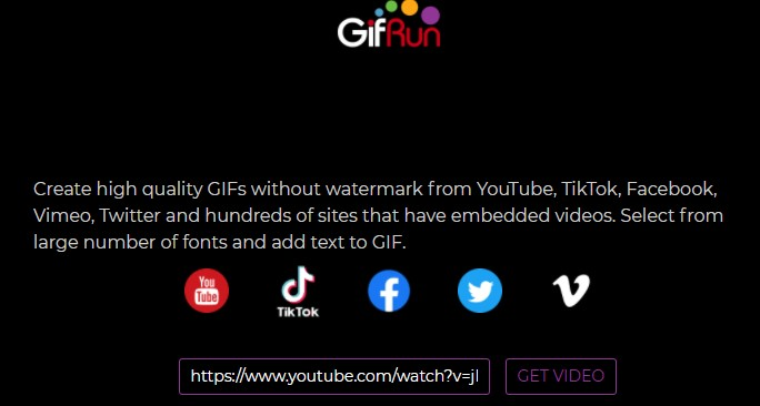 create a GIF with Gifrun