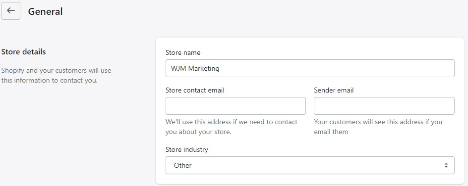 change your shopify name store in settings